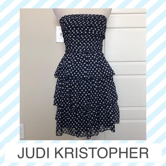Judi Kristopher Dresses & Skirts - Judi Kristopher Tiered Polka Dot Midi Dress